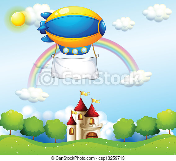An airship with an empty banner above a castle - csp13259713