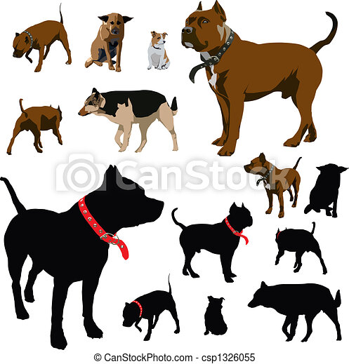 Dog illustrations and silhouettes - csp1326055