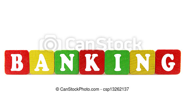 banking - isolated text in wooden building blocks - csp13262137