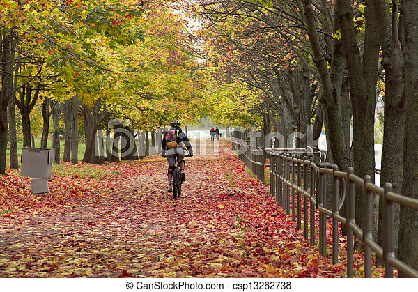 Man rides a bicycle in the autumn park - csp13262738