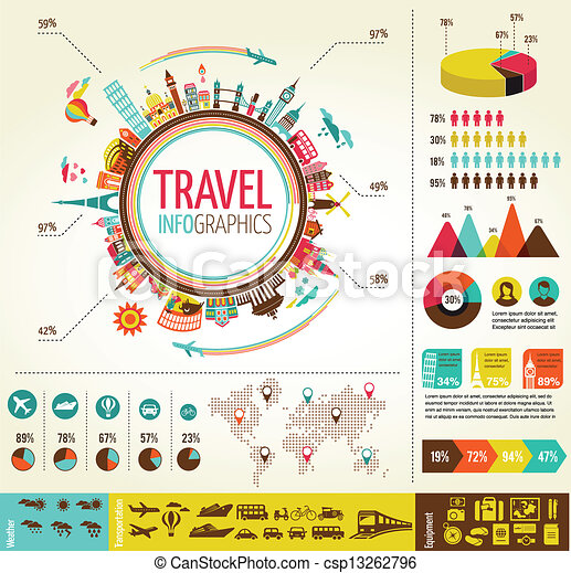 Travel and tourism infographics with data icons, elements - csp13262796