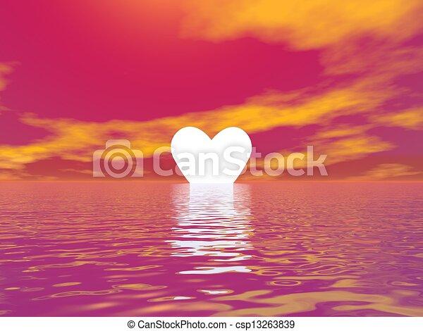 Love sunset - 3D render - csp13263839