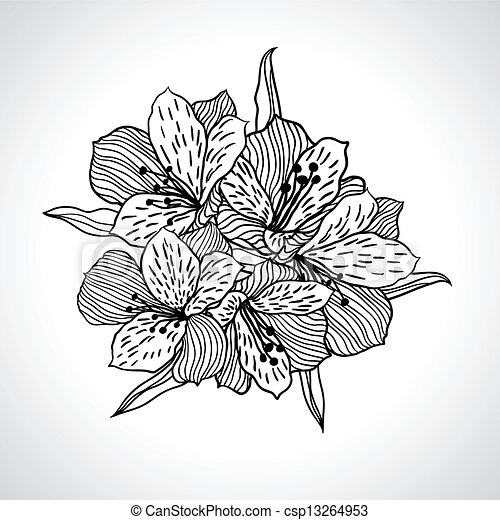 手绘兰花团扇海报