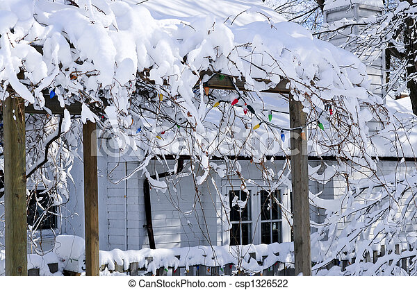 Front yard of a house in winter - csp1326522