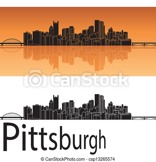 Pittsburgh Skyline Drawing Pittsburgh Skyline in Orange