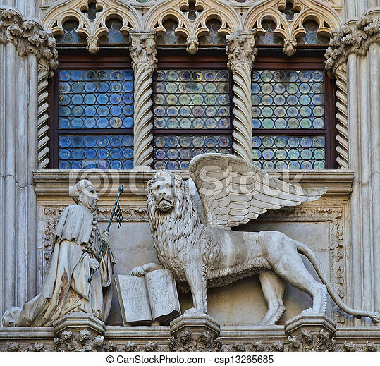 VENICE, ITALY architecture fragment Doge's Palace century - csp13265685