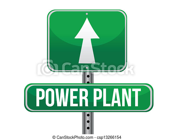 Clipart Vector of power plant road sign illustration ...