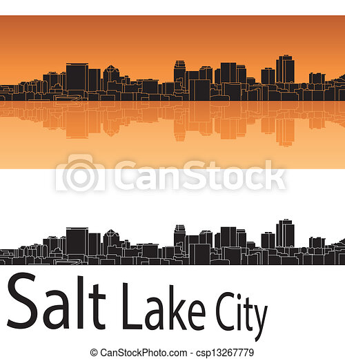 Salt Lake City skyline in orange background - csp13267779