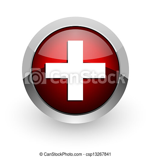 emergency red circle web glossy icon - csp13267841
