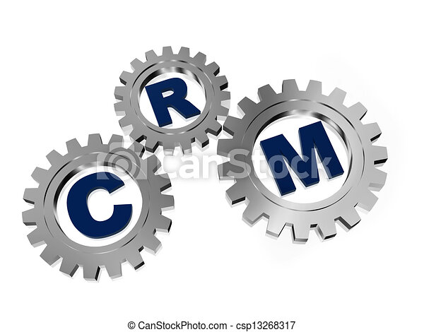 Clipart of CRM in silver grey gears - CRM, customer ...