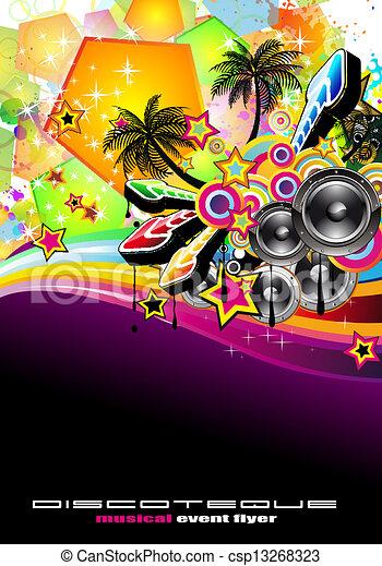 Tropical Music Event Disco Flyer  - csp13268323