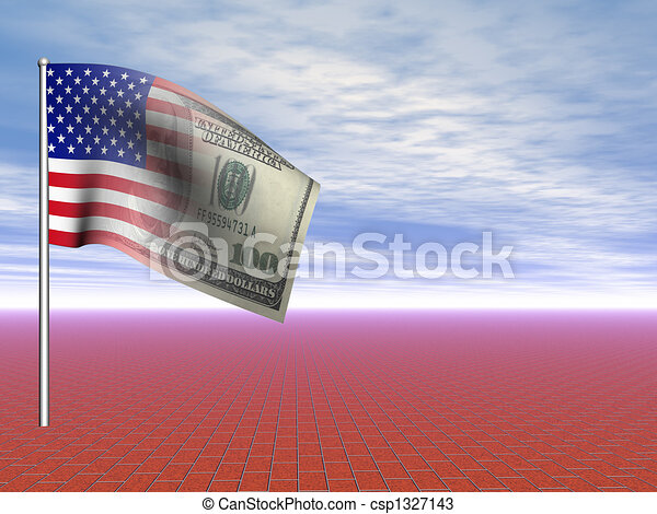 3D concept American flag us dollar over blue sky and infinite red brick pavement - csp1327143