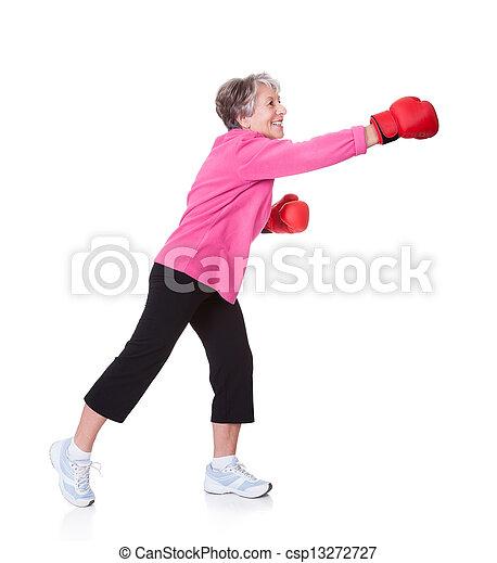 Portrait Of Senior Female Boxer - csp13272727