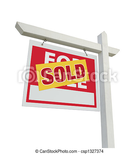 Sold Home For Sale Real Estate Sign on White - csp1327374