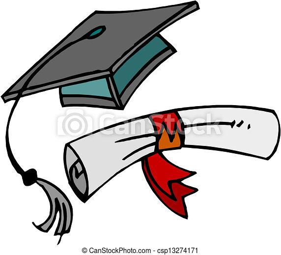 Vectors Illustration of Diploma and graduation cap. csp13274171 ...