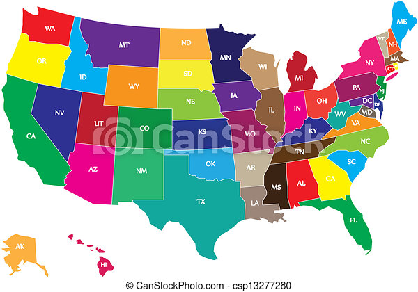 Drawings Of Colored Map Of USA States Csp Search Clipart - Us map with states that can be colored