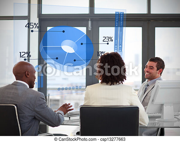 Smiling business people using blue pie chart on futuristic interface in a meeting - csp13277663