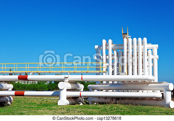 Industrial pipe with gas and oil and water  - csp13278618