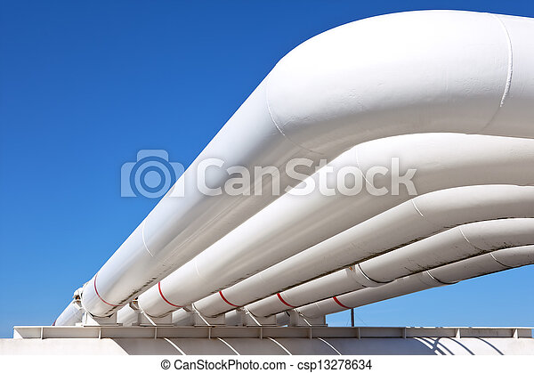 Industrial pipe with gas and oil and water  - csp13278634