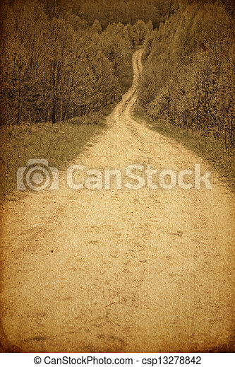 Grunge photography of rural road - csp13278842