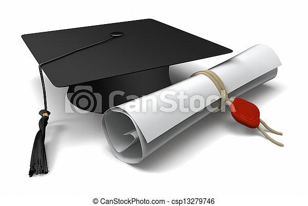 gorra, diploma, graduación - csp13279746