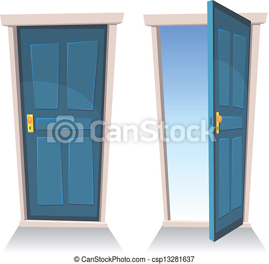 Closed Door Drawing vectors of doors, closed and open - illustration of a set of