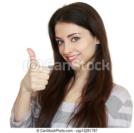 Smiling woman showing thumb up. Ok sign. Closeup portrait isolated on white background - csp13281787