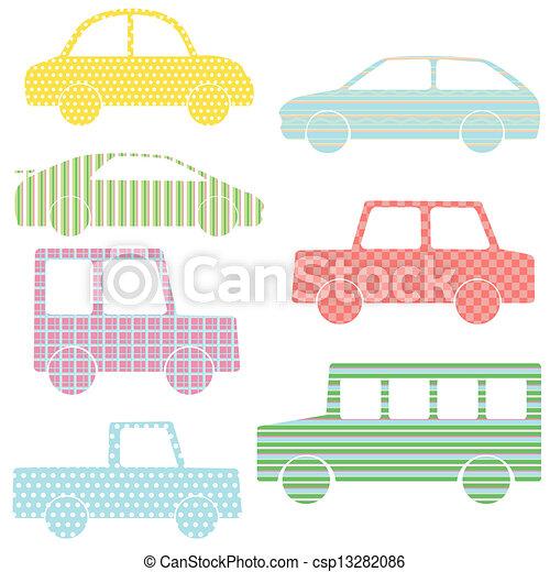 vecteur de simple motifs silhouettes collection voiture vector csp13282086. Black Bedroom Furniture Sets. Home Design Ideas