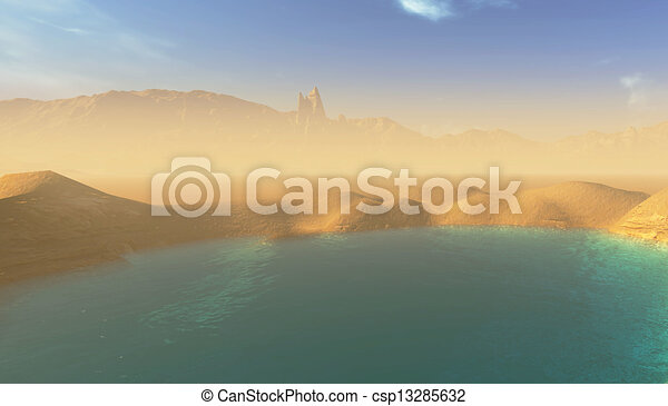 beautiful lake in the desert - csp13285632