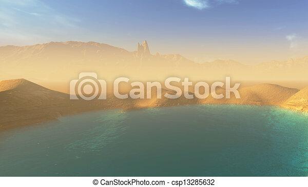 beautiful lake in the desert - csp13285632