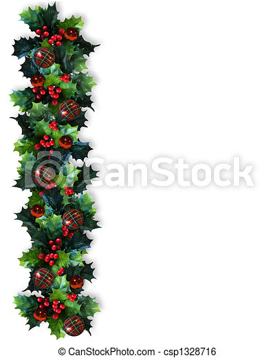 Christmas Border Holly Garland - csp1328716