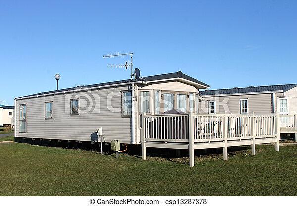 Modern caravan home in trailer park - csp13287378