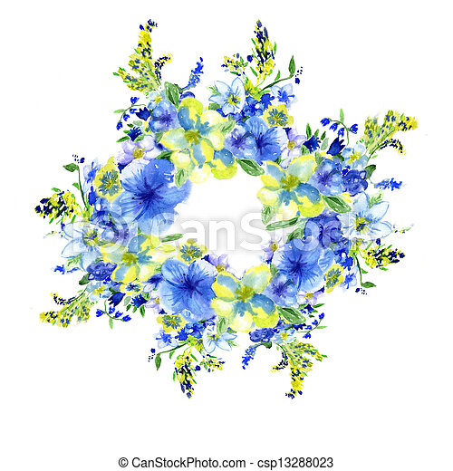 watercolor dark blue and yellow flowers on a white background - csp13288023