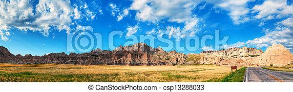 Scenic view at Badlands National Park, South Dakota, USA - csp13288033