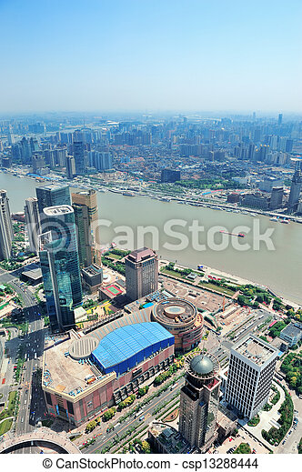 Shanghai aerial in the day - csp13288444