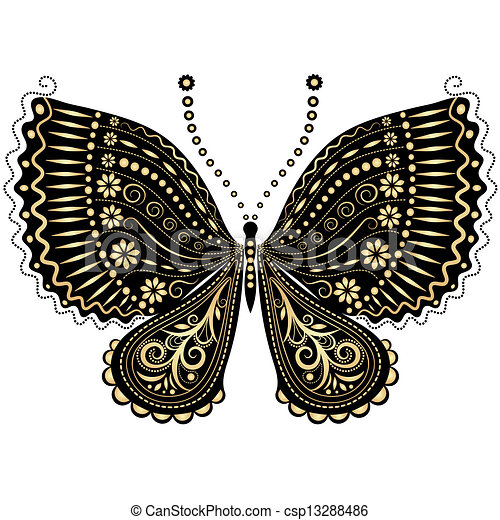Fantasy vintage black-gold butterfly - csp13288486