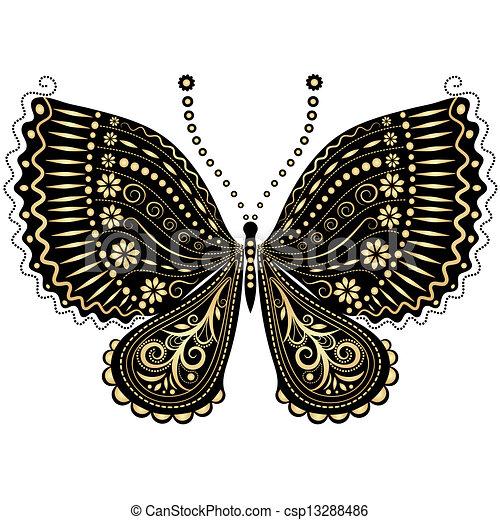 Fantasy vintage black-gold butterfly - csp13288486