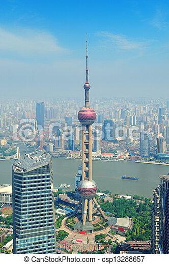 Shanghai aerial view - csp13288657