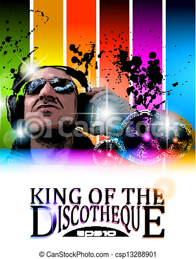 King of the discotheque flyer - csp13288901