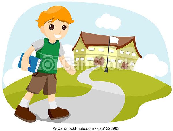 escuela, yendo - csp1328903