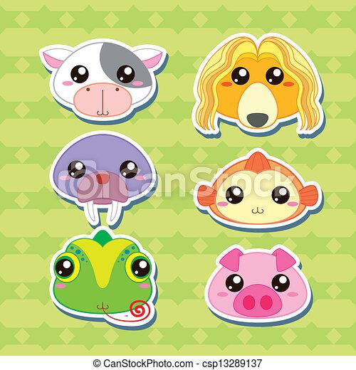 Vettori di c te testa sei animale adesivi cartone - Animale cartone animato immagini gratis ...
