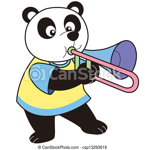 Clip Art Vecteur de dessin animé, Panda, jouer, trombone csp13293619 ...