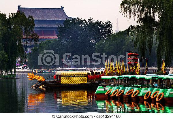 Houhai Lake Tourboats Drum Tower In Background Beijing, China - csp13294160
