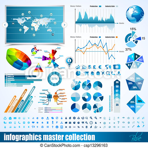 Premium infographics master collection: graphs, histograms, arrows, chart, 3D globe, icons and a lot of related design elements. - csp13296163