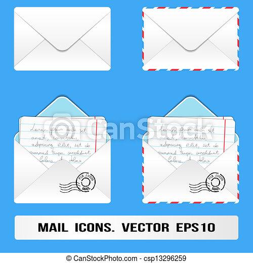 e, メール, アイコン, セット, ベクトル - csp1329625... e, メール,
