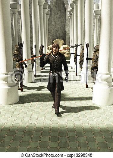Medieval or Fantasy Spearman walkin - csp13298348
