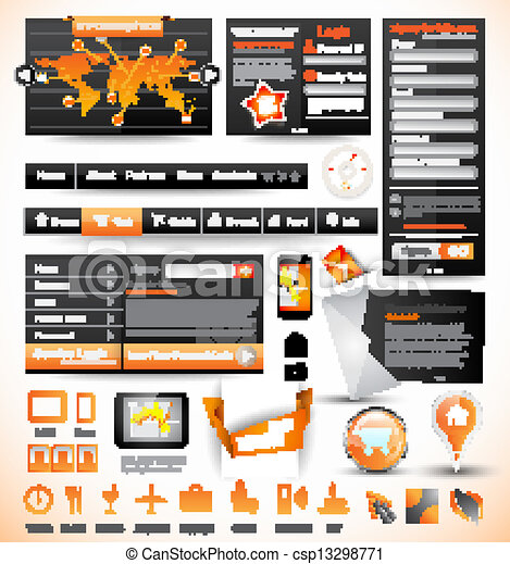 Premium templates and Web stuff master collection: graphs, histograms, arrows, chart, infographics, icons and a lot of related design elements. - csp13298771