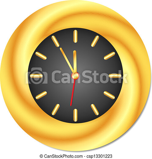 Vector Illustration of Golden Clock. Midnight, Midday ...