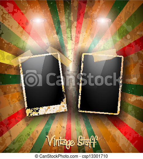 Antique distressed photoframes with old dirty look on a vintage seamless wallpaper. Frames are featured by led spotlights.Shadows are transparent. - csp13301710