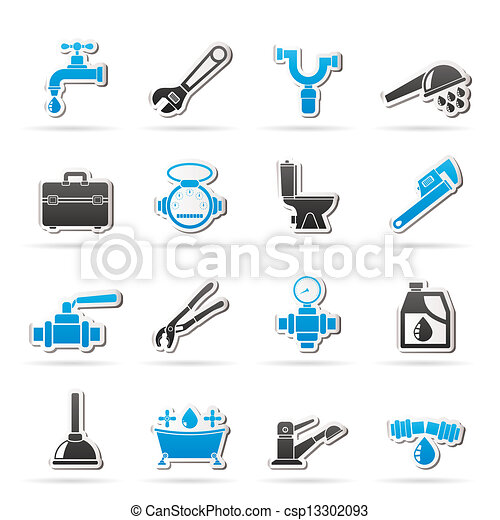 plumbing objects and tools icons - csp13302093
